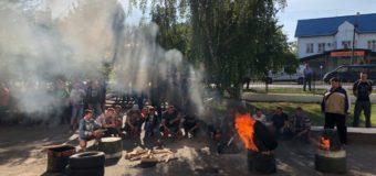 Волинські гірники палять шини під ДП «Волиньвугілля». ФОТО